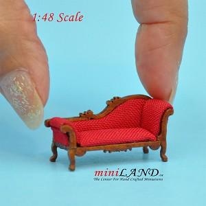 "1:48 1/4"" quarter scale chaise lounge sofa RED Top quality walnut for dollhouse miniature"