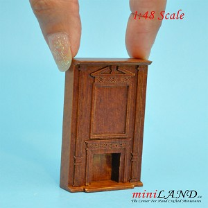 "1:48 1/4"" quarter scale tall fireplace panel  Top quality walnut for dollhouse miniature"