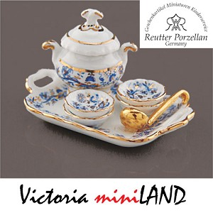 1.643/8 Gold Blue Onion Soup Set Reutter Porzellan Dollhouse miniature 1:12