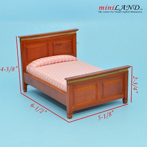 Clearance sale - cognac  bed  for dollhouse miniature 1:12 scale