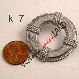 "life buoy 1-1/2""L unfinished DIY metal miniature for dollhouse - Do it yourself"