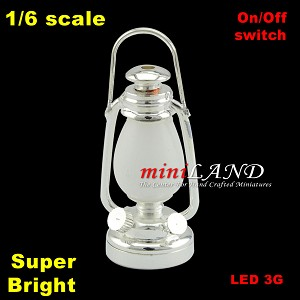 1/6 scale Silver oil lamp  LED Super bright with On/off switch
