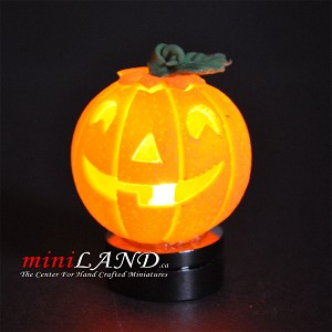 Halloween Pumpkin bright battery LED LAMP 1:12 on/off switch hop14