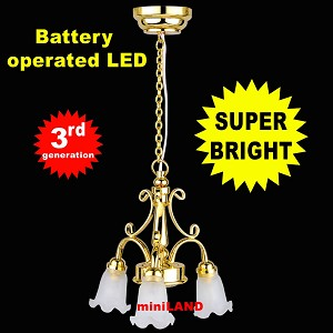 3-Arm Tulip brass Chandelier LED Super bright with On/off switch