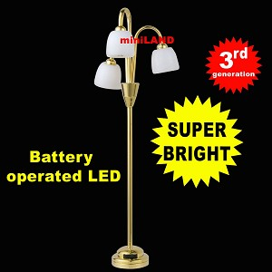 3 head gold floor lamp  LED Super bright with On/off switch