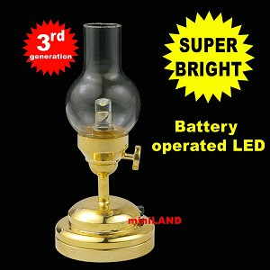 Trad. Hurricane brass  Lamp LED Super bright with On/off switch