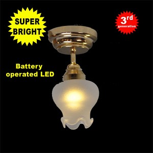 Brass Sm Frost Tulip Ceiling Lamp LED Super bright with On/off switch